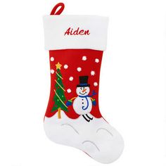 Personalized Snowman With Skis and Tree Stocking #snowman #stocking #personalized #Christmas $17.99
