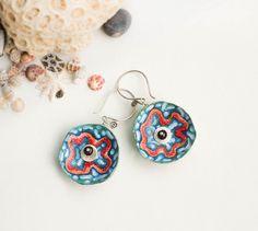 Polymer clay earrings using my faux batik technique by Favorite Dream