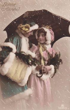 1912..Beautiful Edwardian Girl Grete Reinwald in Snow..original german postcard