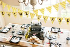 Dessert table at a detective birthday party! See more party planning ideas at CatchMyParty.com!