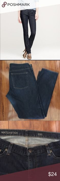 J crew matchstick jeans dark rinse J crew Matchstick dark rinse jeans. Sz 33.  GUC some mild fading on knee see last pic. Less noticeable in real life imo. J. Crew Jeans Skinny
