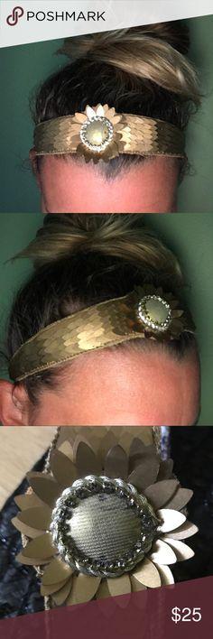 NWT Deepa Gurnani gold sunflower headband Elastic back, paisley liner, super cute! Anthropologie Accessories Hair Accessories