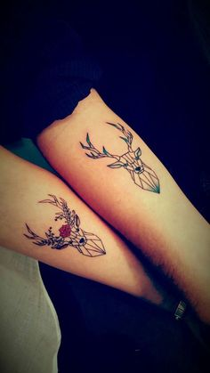 ▷ 1001 + ideas for matching couple tattoos to help you decla.- ▷ 1001 + ideas for matching couple tattoos to help you declare your love deer and stag, geometric design, matching tattoos, forearm tattoos - Cute Couple Tattoos, Love Tattoos, Unique Tattoos, Beautiful Tattoos, Body Art Tattoos, Tattoos For Women, Country Couple Tattoos, Tatoos, Cute Matching Tattoos
