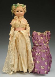 Early German Wax Over Doll. : Lot 569
