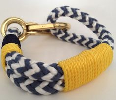 Blue & White Nautical Rope Bracelet with Gold wrap and por Buoy6, $21.95