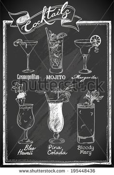 chalkboard art wedding cocktails - Google Search