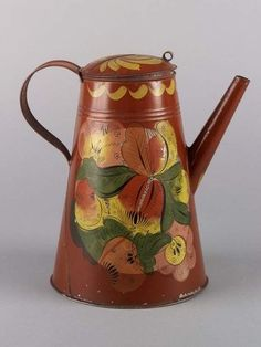 Coffeepot, attributed to Aaron Butler tin shop, Greenville, New York, Laszlo Bodo Tole Painting, Painting On Wood, American Decor, American Country, Early American, Brandywine River, Antique Show, Country Paintings, Metallic Paint