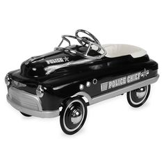 """The road will be safer with your little tyke patrolling in their Comet Police Pedal Car by Airflow Collectibles. Complete with Police Chief decals, your little one will be ready to """"Protect and Serve"""". Get ready to pull over, Mom and Dad!"""