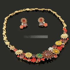 Glamorous Golden Alloy Red Floral Rhinestone Wedding Bridal Jewelry Sets(Including Necklace,earring)