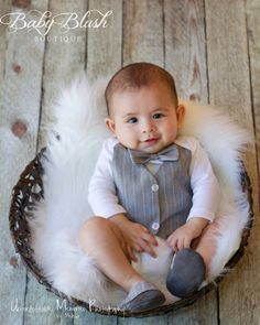 Grey Vest Onesie Bow tie Baby Boy Outfit by babyblushboutique, $48.00