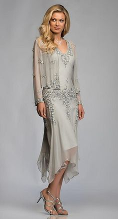 Gorgeous Silver Grey Chiffon Appliques Lace Tea Length Mother Of The Bride Dresses With Jacket Suits Deep V neck For Weddings-in Mother of the Bride Dresses from Weddings & Events on Aliexpress.com | Alibaba Group