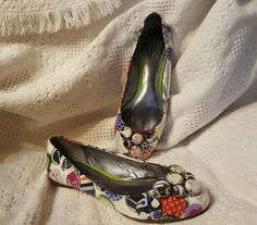 COACH WHITE SATIN MULTI LOGO COLORFUL BALLET FLATS SONNET 8.5 M | Clothing, Shoes & Accessories, Women's Shoes, Flats & Oxfords | eBay! SOLD