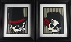Wicked wedding guest book alternative! Cut Paper Sugar Skull Day of the Dead Layered Artwork by MinksPaperie, $40.00