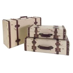 I pinned this 3 Piece Antiqued Suitcase Set from the From the Ground Up event at Joss and Main!