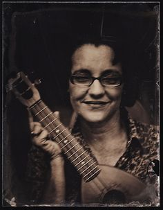 """""""Jill and her Uke"""" Whole Plate Ambrotype on clear glass by Blake Wylie"""