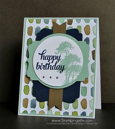 Masculine birthday card with Stampin' Up! Serene Silhouettes + Tin of Cards stamp sets and die-cut Deco Labels for layering.