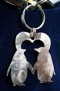 Stainless Steel Penguins Heart Charm Keychain by StainlessCharms