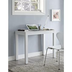Altra Furniture Altra Delilah Parsons Storage/Corner Desk with Drawer in White/Gray-9178996PCOM - The Home Depot