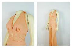 SOLD Vintage Jumpsuit 70s Peach Halter Top Lace Waist Bell Bottoms Jumper Modern Size Medium by 2sweet4wordsVintage on Etsy