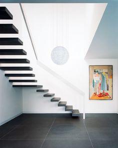Villa treppenhaus modern  moderne Holz Treppe moderne Holz Küche Wohnhaus Leichlingen | Flur ...