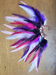Feather Ear Cuff  Purple Pink and White by JAKRabbitry on Etsy