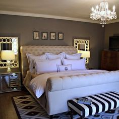 #black #white #bedroom #traditional #chandelier #mirror #nightstand #stripe #bench #upholstered #headboard #homedecor #design #style #classic #pillows #classic #linens #bedding #statement #styleinspired #lamp #grey #sexy #sugarsweethomes