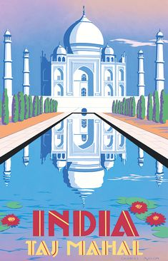 PEL316: 'Taj Mahal - India' by Charles Avalon - Vintage travel posters - Art Deco - Pullman Editions                                                                                                                                                                                 More