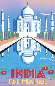 PEL316: 'Taj Mahal - India' by Charles Avalon - Vintage travel posters - Art Deco - Pullman Editions