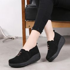 Women's Casual Shoes Women Female Mother Ladies Genuine Leather Cow Su – Touchy Style Black Shoe Boots, Black Shoes Sneakers, Black Casual Shoes, Black Laces, Suede Shoes, Blue Shoes, Black Heels, Women's Casual, Creepers