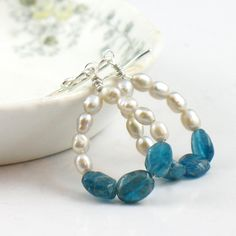 Antique White Pearl and Apatite Hoop Earrings by SDJewelry on Etsy
