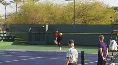 Ball Kid Practice at Indian Wells - Victor playing the part of the player. He loved it!