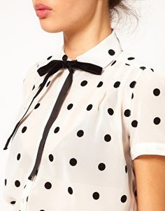Cute! And love that lip colour. Polka Dot Short Sleeve Blouse With Bow Tie