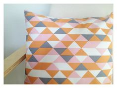Geometric Triangles Pillow 16'' / organic fabric / pillow case / decorative pillow / triangles / pastel colours / peach / light pink