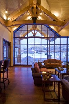 Modern windows with Timberframe construction - brilliant!