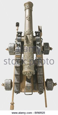 A model cannon, in the style of a ship's cannon from the 18th century. Richly decorated bronze barrel in 37 - Stock Image