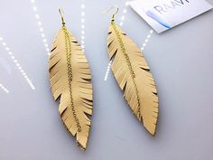 Feather Earrings Leather Feather Earrings Genuine Natural