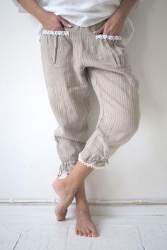 BYPIAS Lace-Mameluk, NATURAL/PINSTRIPE (99,-) - BYPIAS Linen Pants - BYPIAS