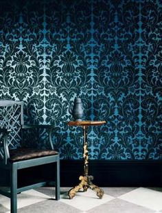 If only I could find this brocade wall paper in red and black! Goth  Shopaholic