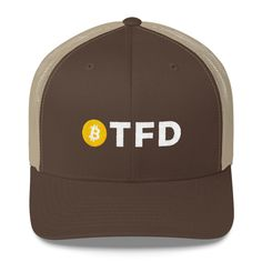 280ec36420ce9 Latest addition  etsy shop  BTFD Bitcoin Logo Coin Hat Blockchain  Embroidered Trucker Cap Trading