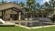 Villa con portico e piscina
