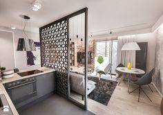 Projekt mieszkania 60 m2 w Gdańsku - Mały salon z bibiloteczką z kuchnią z jadalnią, styl skandynawski - zdjęcie od BIBI