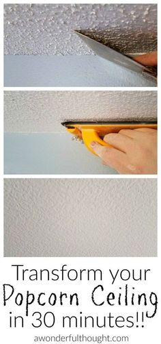 Here are 2 ways how to remove popcorn ceilings.The first gives you a smooth finish and the second a textured finish. They are both easy DIY projects! diy home improvement 2 Ways to Remove Popcorn Ceilings Diy Popcorn, Removing Popcorn Ceiling, Popcorn Ceiling Makeover, Popcorn Ceiling Removal, Cover Popcorn Ceiling, How To Paint Ceiling, Do It Yourself Decoration, Diy Home Decor For Apartments, Diy Furniture
