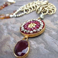 Sophia Forero Designs is one of the most amazing collections in the shop. Ruby Mosaic necklace.
