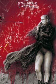 EYE LINER LABYRINTH - III MILLENNIUM by Luis Royo - http://www.laberintogris.com/es/10-luis-royo Red bloody stage for a desolate woman. She wears a fur coat, revealing her sex.