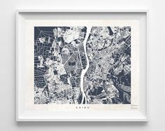 Cairo Map Egypt Print egyptian Poster Map Print by InkistPrints
