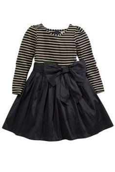 Girls Black and White Stripe Bow Dress by Next