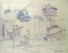 Jetson's Attraction - concept art for an unrealized Disney/Hanna Barbara theme park