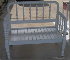 My Repurposed Life--white bench made from twin spool bed  (tutorial) this looks similar to mine - Do I dare cut it up?