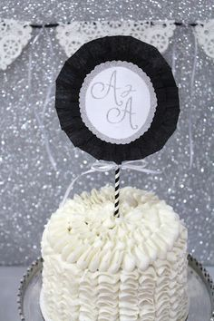 Icing Designs ~ silver, black and white cake topper - EEK I COULD DO THIS TOO!!!