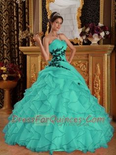 Turquoise Ball Gown Sweetheart 15th Birthday Dresses  Organza Appliques